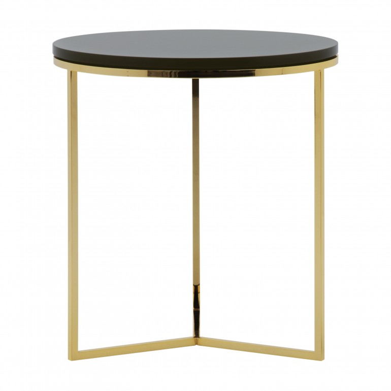 Modern Italian round lamp table with gold plated metal base and back stained wood top