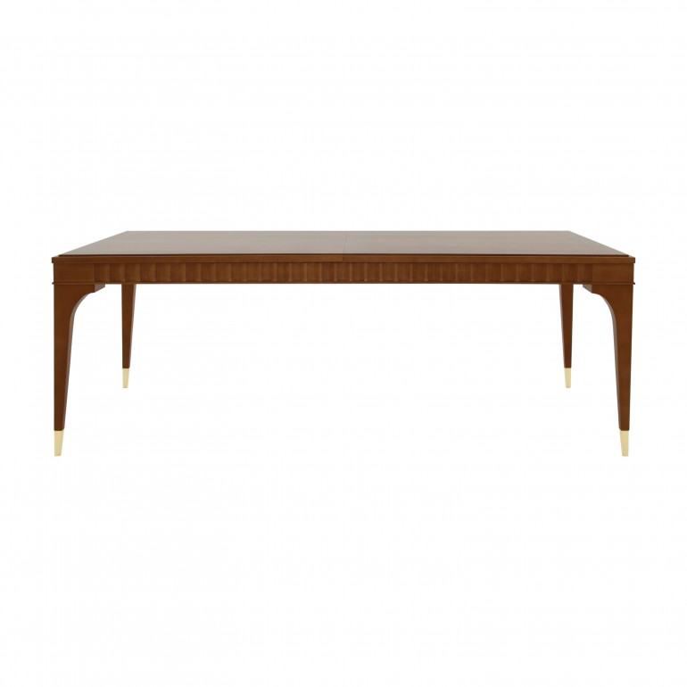 Contemporary extendible Italian table, rectangular, table in Cherry wood - Extendible 4 legs table with gold plated metal tip legs