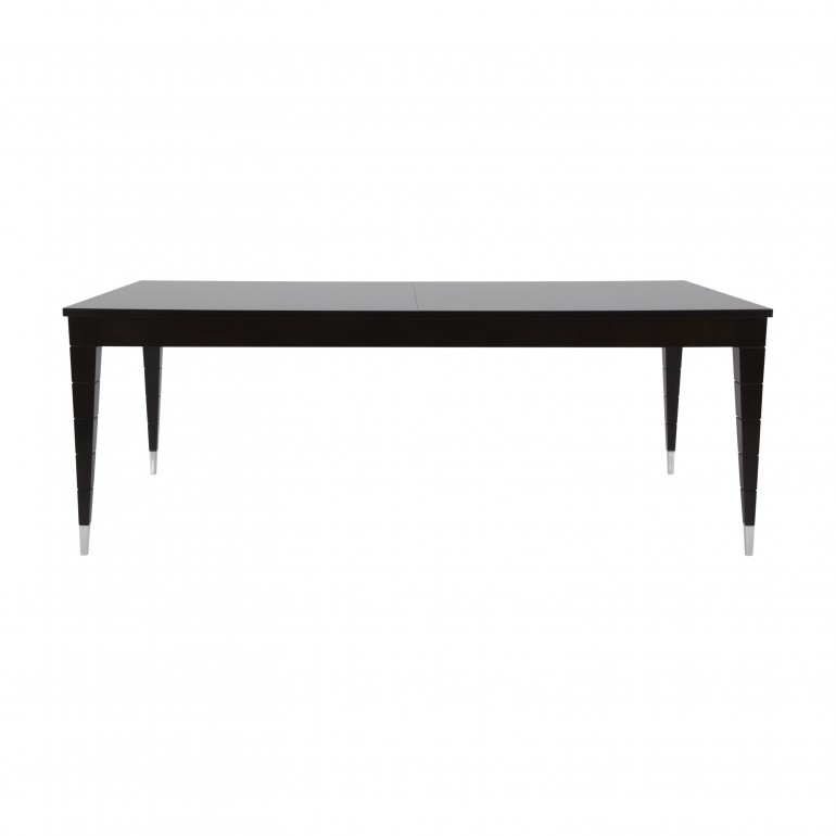 Italian extendible mahogany table with double extentions, in dark mahogany finish with chromed metal tip legs