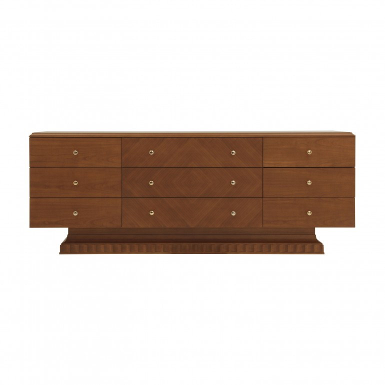 Italian contemporary large Sideboard in cherry finish with 9 drawers. Sibeboard in cherry finish with gold plated knobs on drawers.