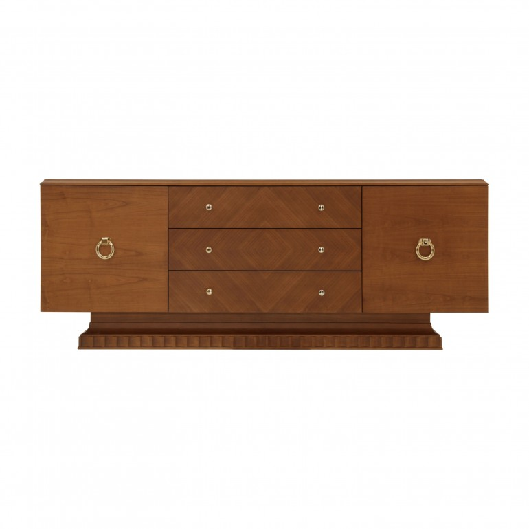 Italian 2 door sideboard with 3 middle drawers in cherry veneer. Cherry finish sideboard with gold plated inserts