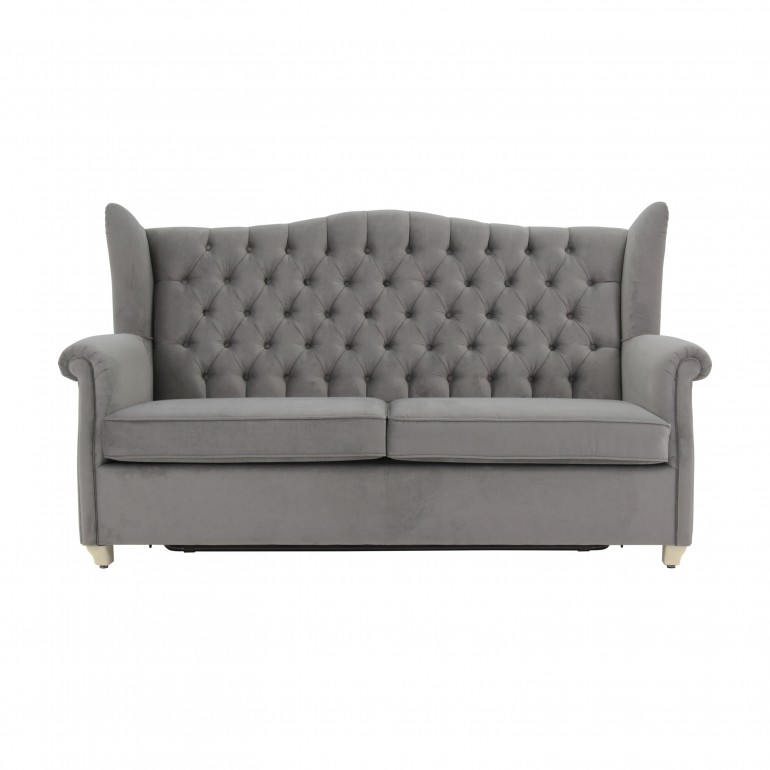 Italian sofa bed, grey velvet, pull out mechanism,2 seater,double bed,convertible with revolving bed mechanism
