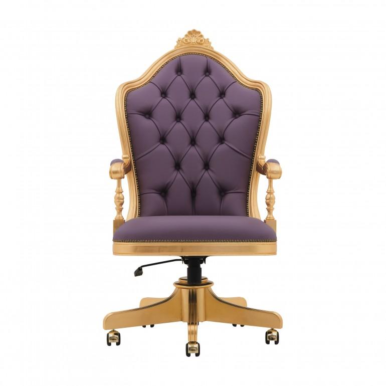 baroque style wooden swivel armchair