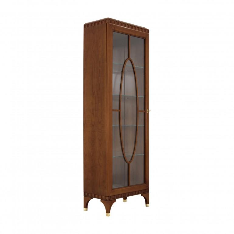 1 door display cabinet  in cherry wood finish, contemporary Italian design manufactury