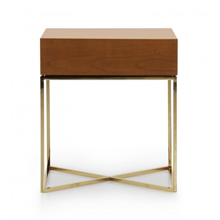 Italian contemporary night stand, gold plated bedside cabinet, 1 drawer night stand, cherry wood top