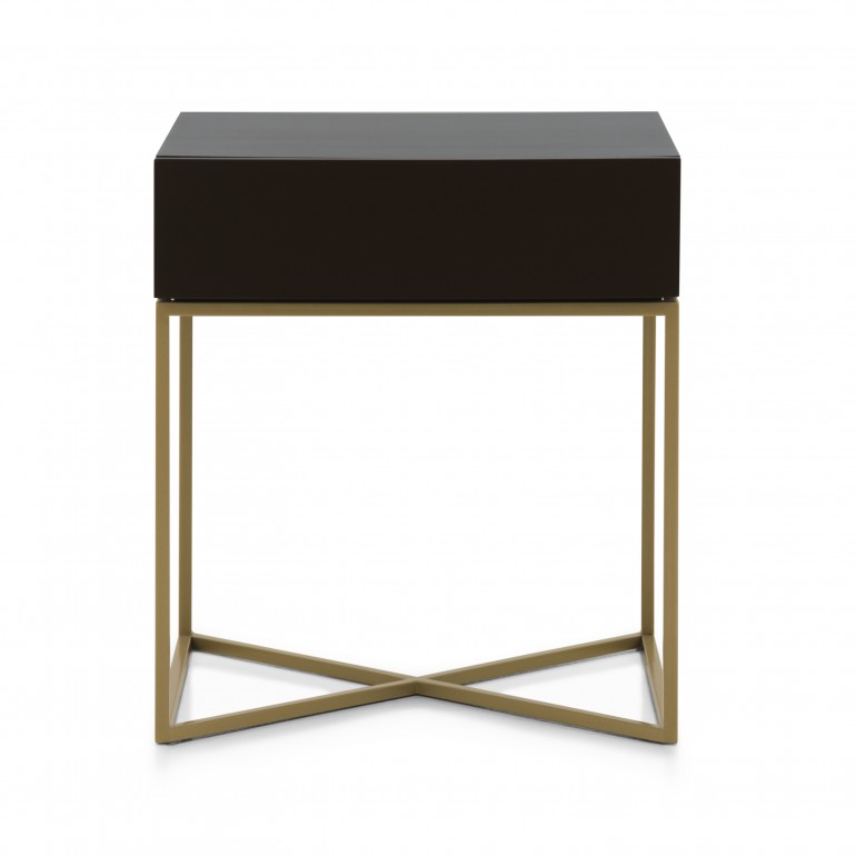 Italian contemporary bedside table with gold painted metal base.Cherry wood top in dark wenge color finish