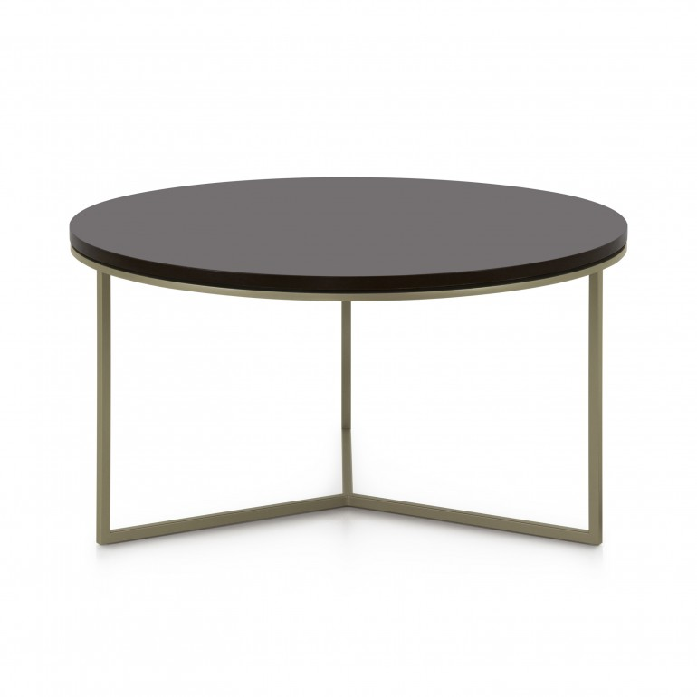 Italian round coffee table - round coffee table with dark bronze powder coated metal base - round black wood top coffee table