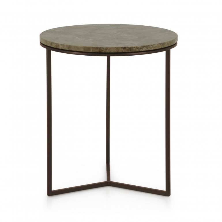 Italian round lamp table, marble top lamp table, powder coated dark metal base and light Emperador marble top in Italian contemporary style