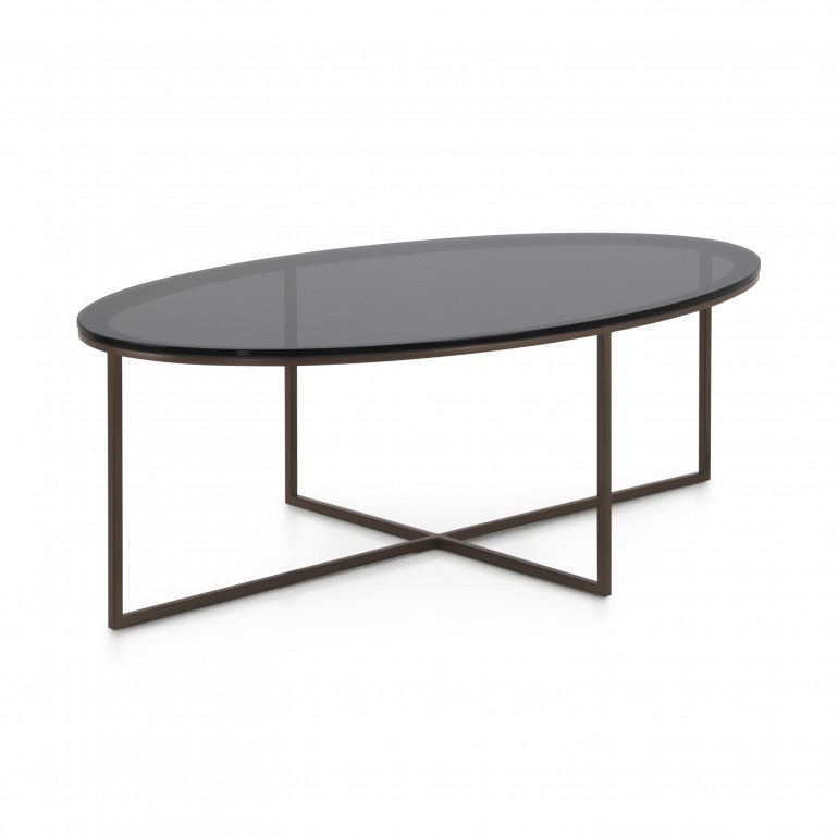 Modern contemporary oval coffee table with powder coated metal base and smoked glass top
