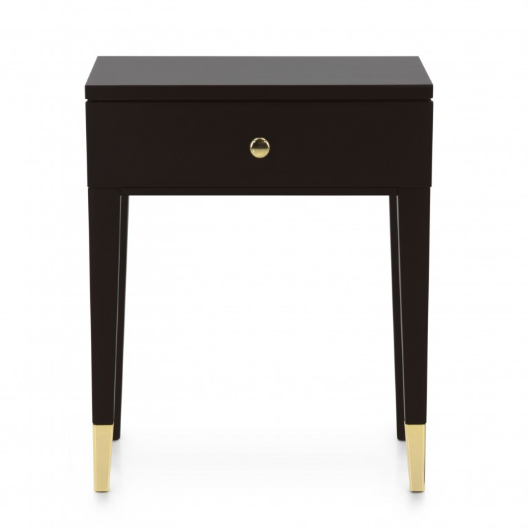 Italian night stand - Contemporary night stand with 1 drawer - small night stand in dark moka finish with gold plated metal tip legs