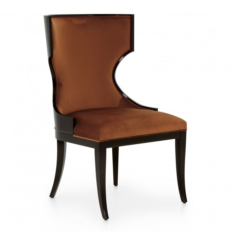 Comfortable italian high wood back chair in dark mahogany finish, upholstered in orange velvet