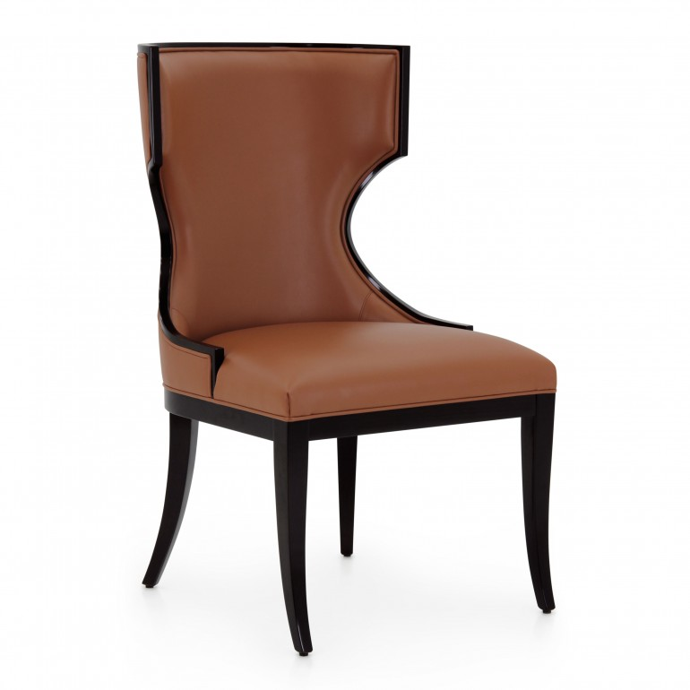 Italian contemporay chair - Upholstered high back chair with wood profiles - large Italian dining chair - chair in dark mahogany finish upholstered in dark orange faux leather