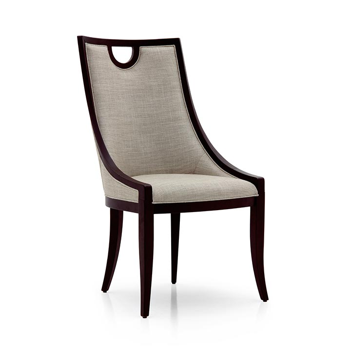 Classic dining chair Astra by Sevensedie -  beech wood frame -  fully upholstered back rest -  Polished in moka finish - upholstered in a grey color fabric