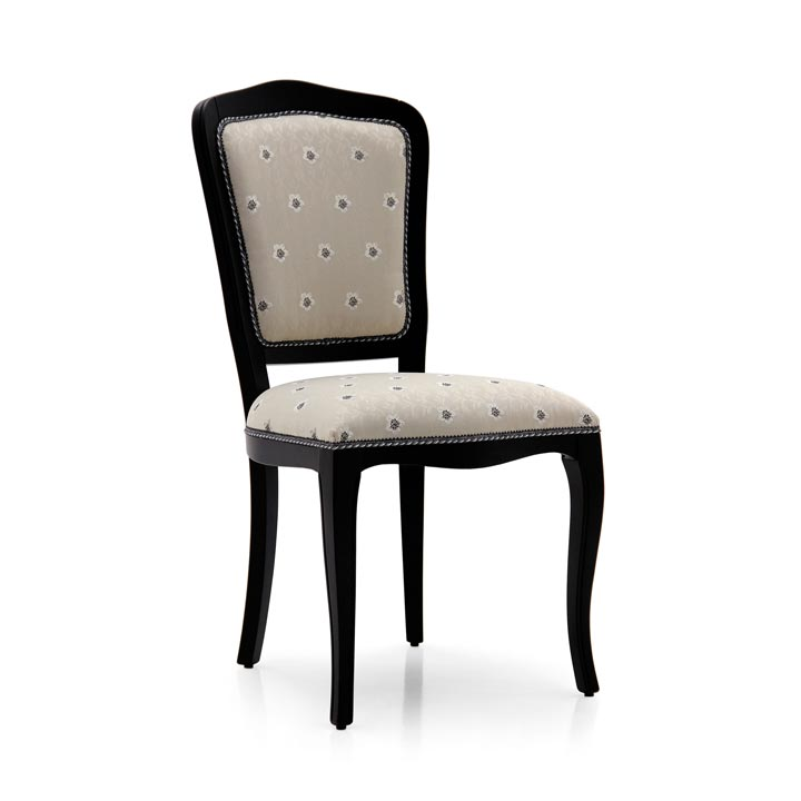 Contemporary dining chair Kara by Sevensedie - beech wood frame -  padded back rest - structure polished in an elegant satin black finish