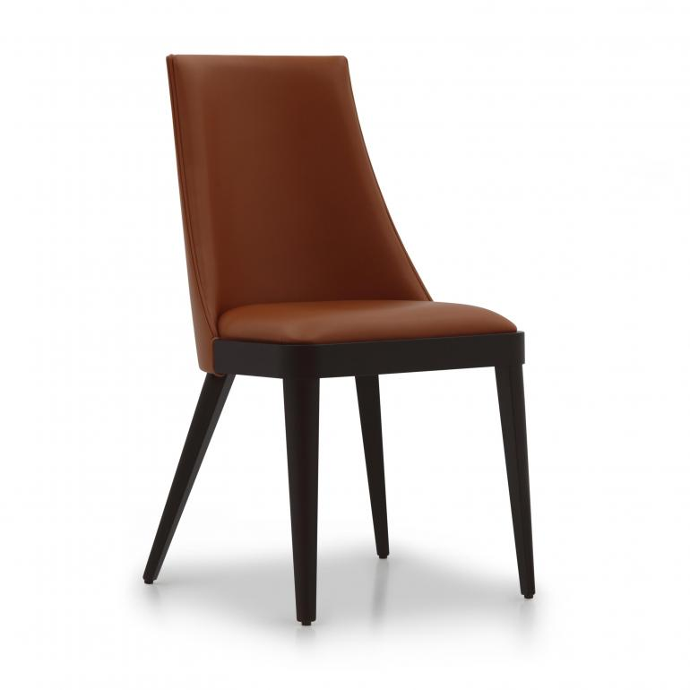 Contemporary dining chair Norvegia by Sevensedie -  beech wood frame -  fully upholstered back rest -  Polished in in Moka finish - upholstered in orange color echoleather