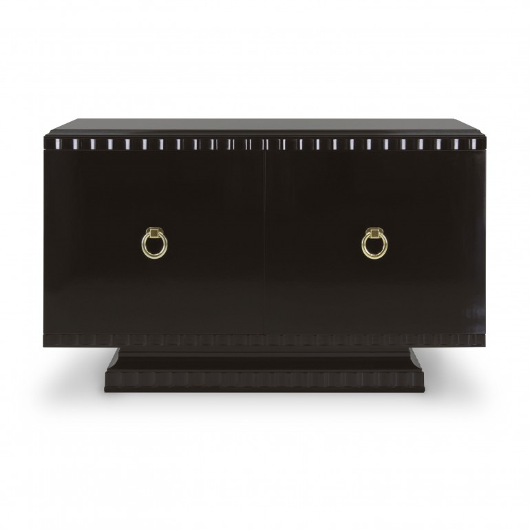 Italian 2 door sideboard in contemporary style, dark moka finish, 2 doors with gold plated metal handles