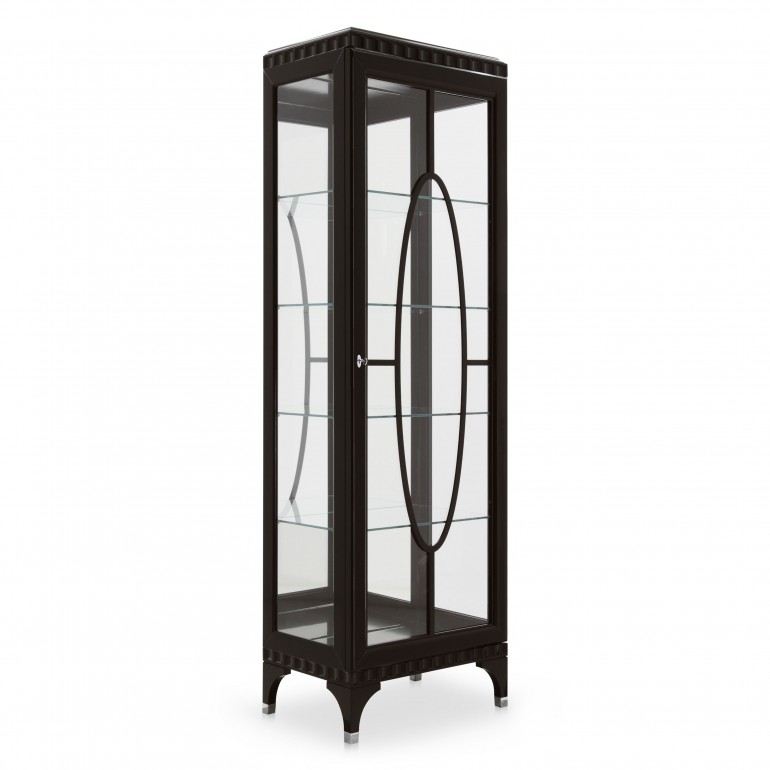 Italian 1 door display cabinet with mirror back in contemporary style, dark brown finish