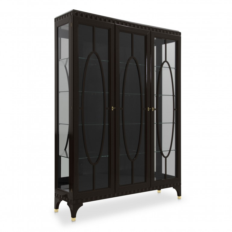 Contemporary 3 door glass cabinet - large Italian glass case in dark moka finish