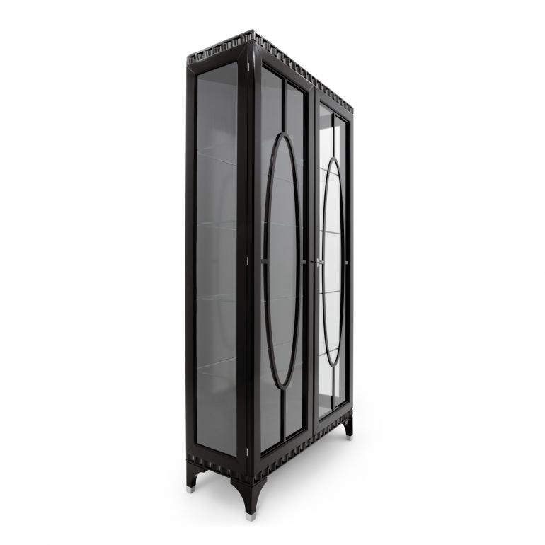 Contemporary 2 door glass case, Italian glass case in dark moka finish
