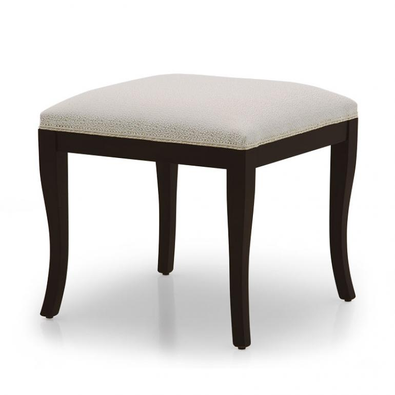 Comfortable modern style ottoman with beech wood structure, upholstered in very elegant light blue fabric. Mocha finish.