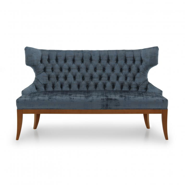Italian 2 seater sofa, tufted back Love seat upholstered in crushed blue velvet