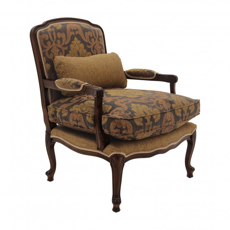 classic style padded wooden armchair