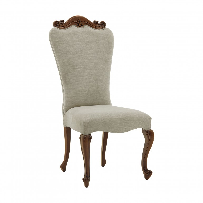 Italian hand carved dining chair Grazia by Sevensedie, classic chair, structure in walnut finish, upholstered in grey velvet