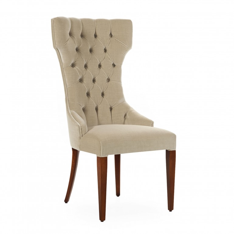 Restaurant chair Queen by Sevensedie -  beech wood frame -  tufted high back rest - Polished in a traditional cherry finish  - Upholstered with plain ice velvet
