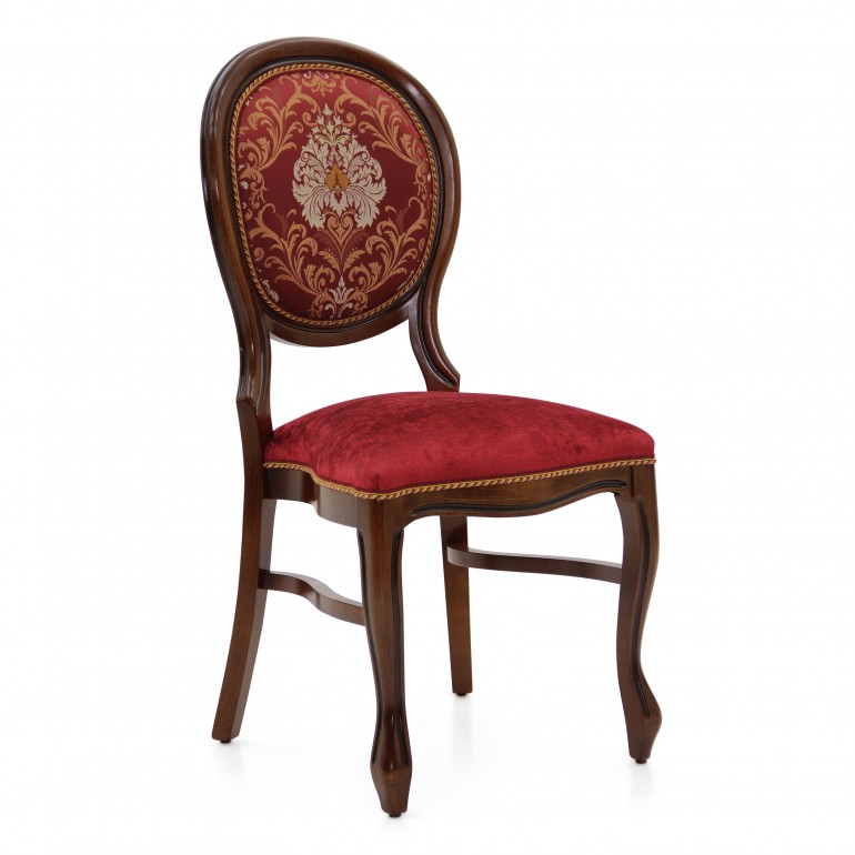 Classic stackable hotel chair Liberty by Sevensedie-  replica Louis style - beech wood frame - lacquered in dark walnut finish -  upholstered with a fabric combination of red velvet for the seat and a rich red damask on the backrest