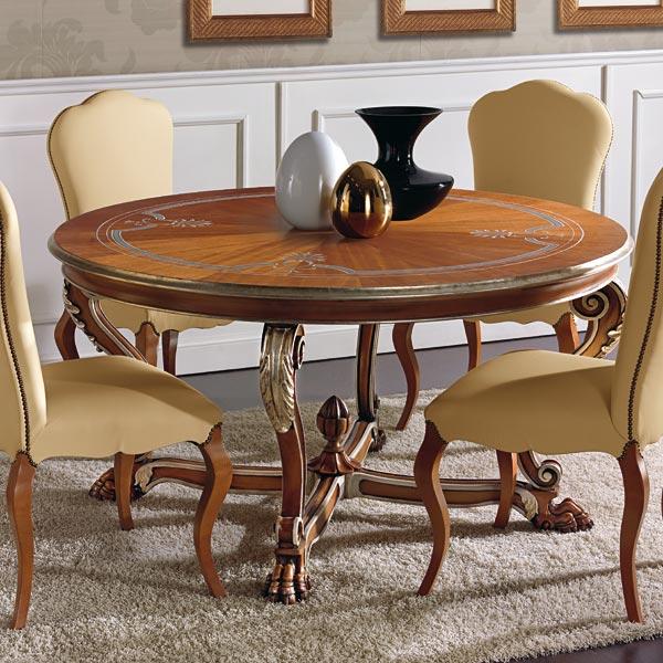 Venetian Style Round Table Leone Seven Sedie