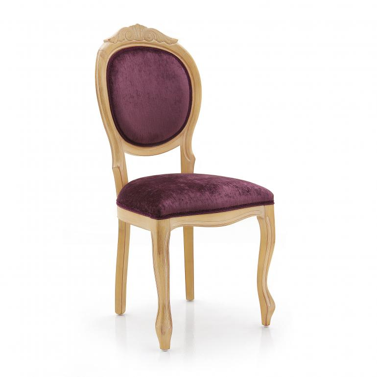 Restaurant chair Sabry in Louis style by Sevensedie - beech wood frame - lacquered in gold with white patina -  upholstered soft purple velvet