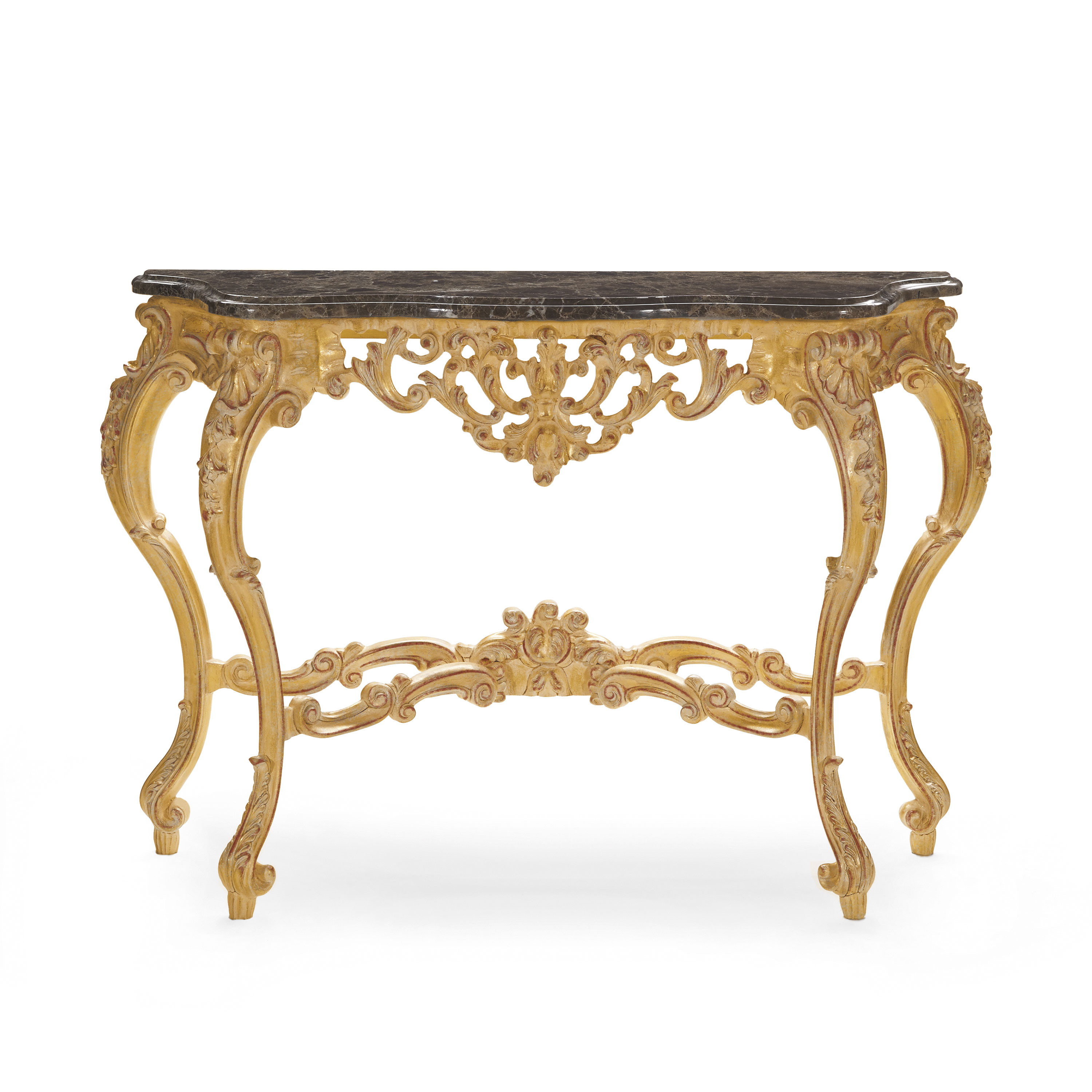 Baroque Style Wood And Marble Console Table Selene