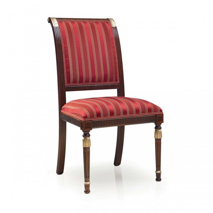 Red upholstered classic chair MAGISTRA by Sevensedie in empire style
