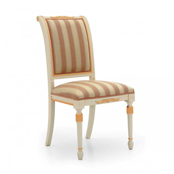 White upholstered classic chair with gold leaf SALGARI by Sevensedie in empire style