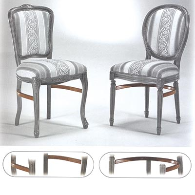 """Two restaurant chairs: the one at the left is reinforced with side stretchers, the one at the right is reinforced with """"U"""" stretchers"""