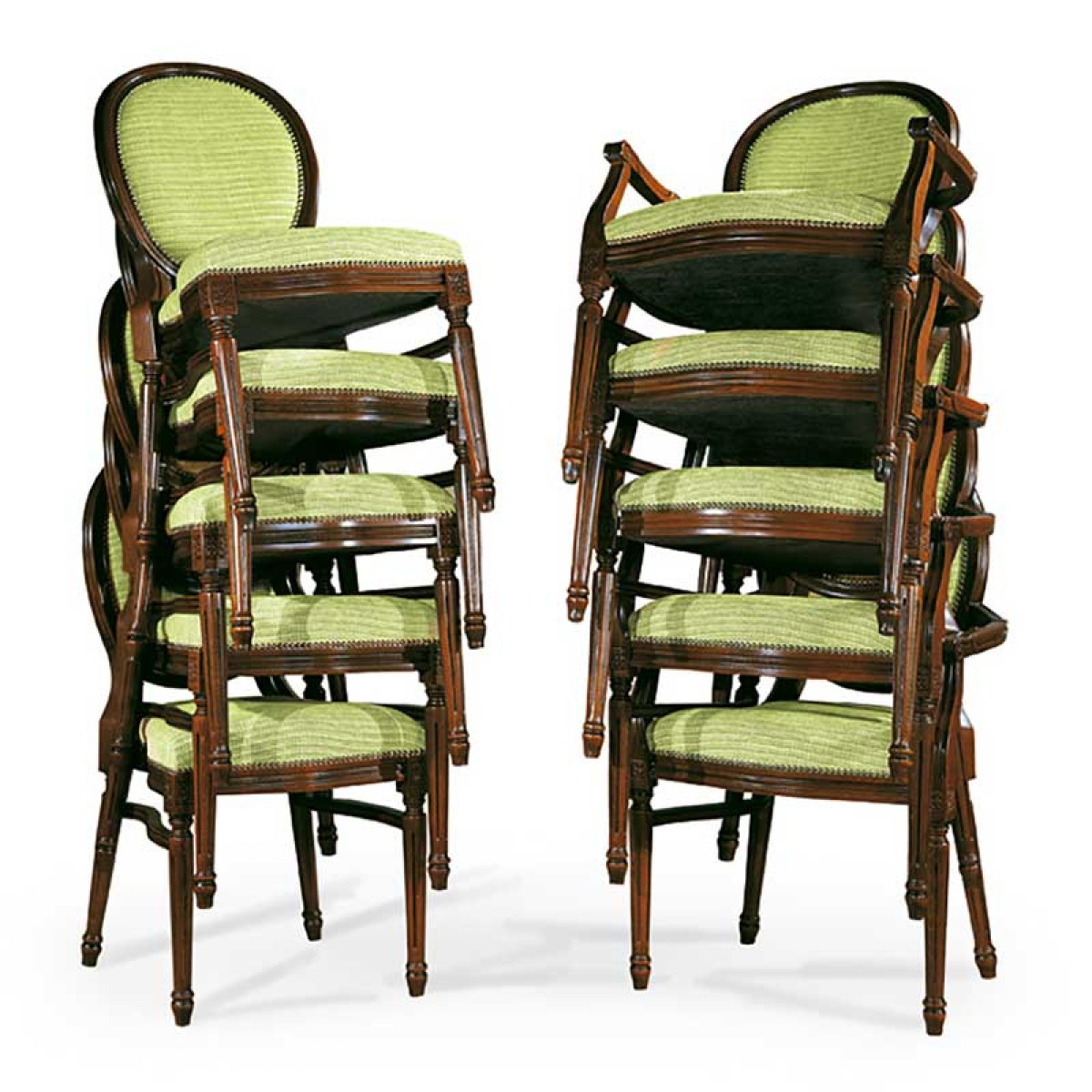Classic Louis XVI replica stackable chairs and armchairs with side stretchers, upholstered in light green fabric, made in Italy by Sevensedie.