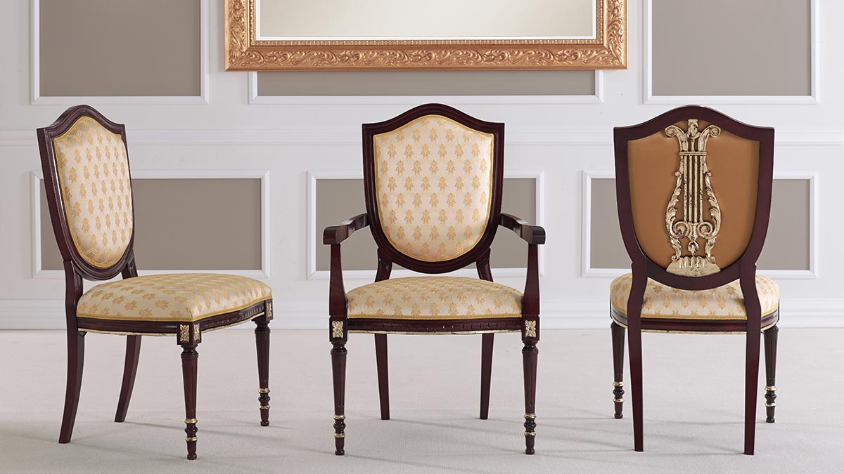 Two Italian classic chairs and an armchair - Violino chair by Sevensedie Italian furniture