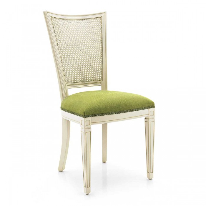 Italian classic chair PRAGA by Sevensedie. Wooden structure painted in white. Seat in green fabric.