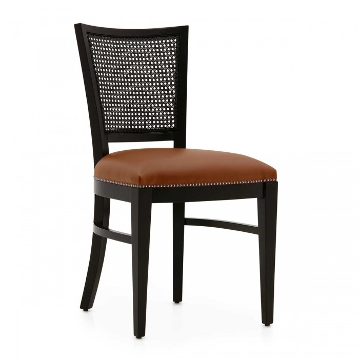 Bespoke Restaurant Chair MINUS by Sevensedie - Dark brown varnished wooden structure. Seat in light brown leather.