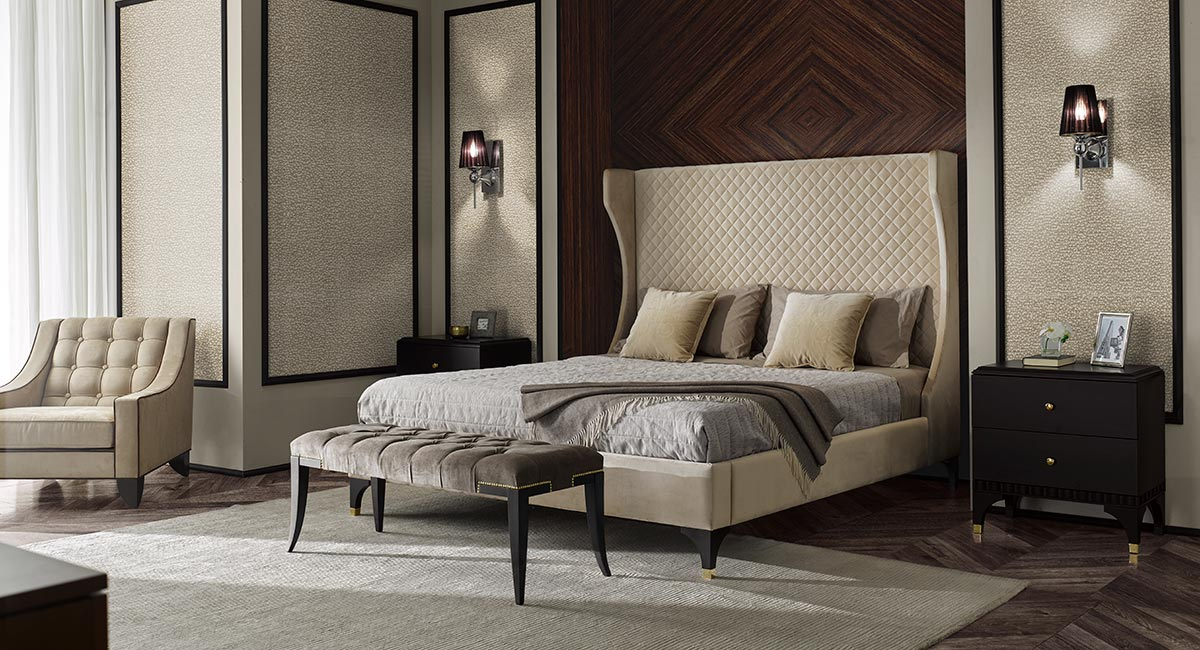 Contemporary Italian creamy bedroom consisting in a double bed with quilted headboard together with 2 bedside wooden cabinet in dark wenge color and a wooden bench with a grey velvet upholstery