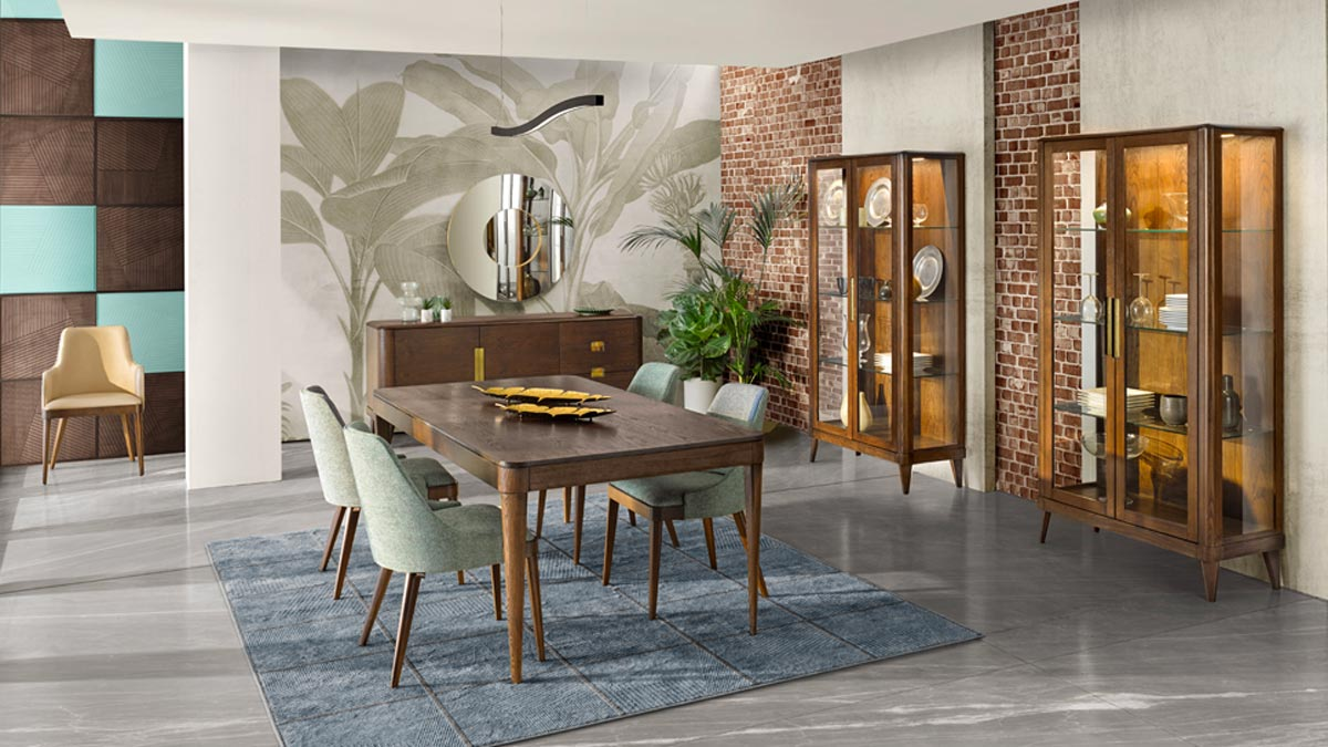 Modern dining room with 2 modern 2 door glass case, matching sideboard and extendible dining table with 4 modern dining chairs