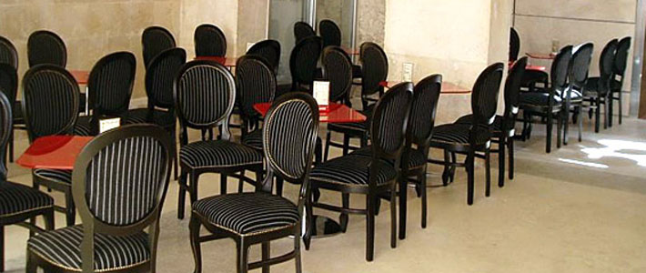 Series of classic black & white restaurant chairs Liberty in the Saint Lawrence Coffee Bar in Zadar, Croatia. Chairs made by Italian furniture producer Sevensedie