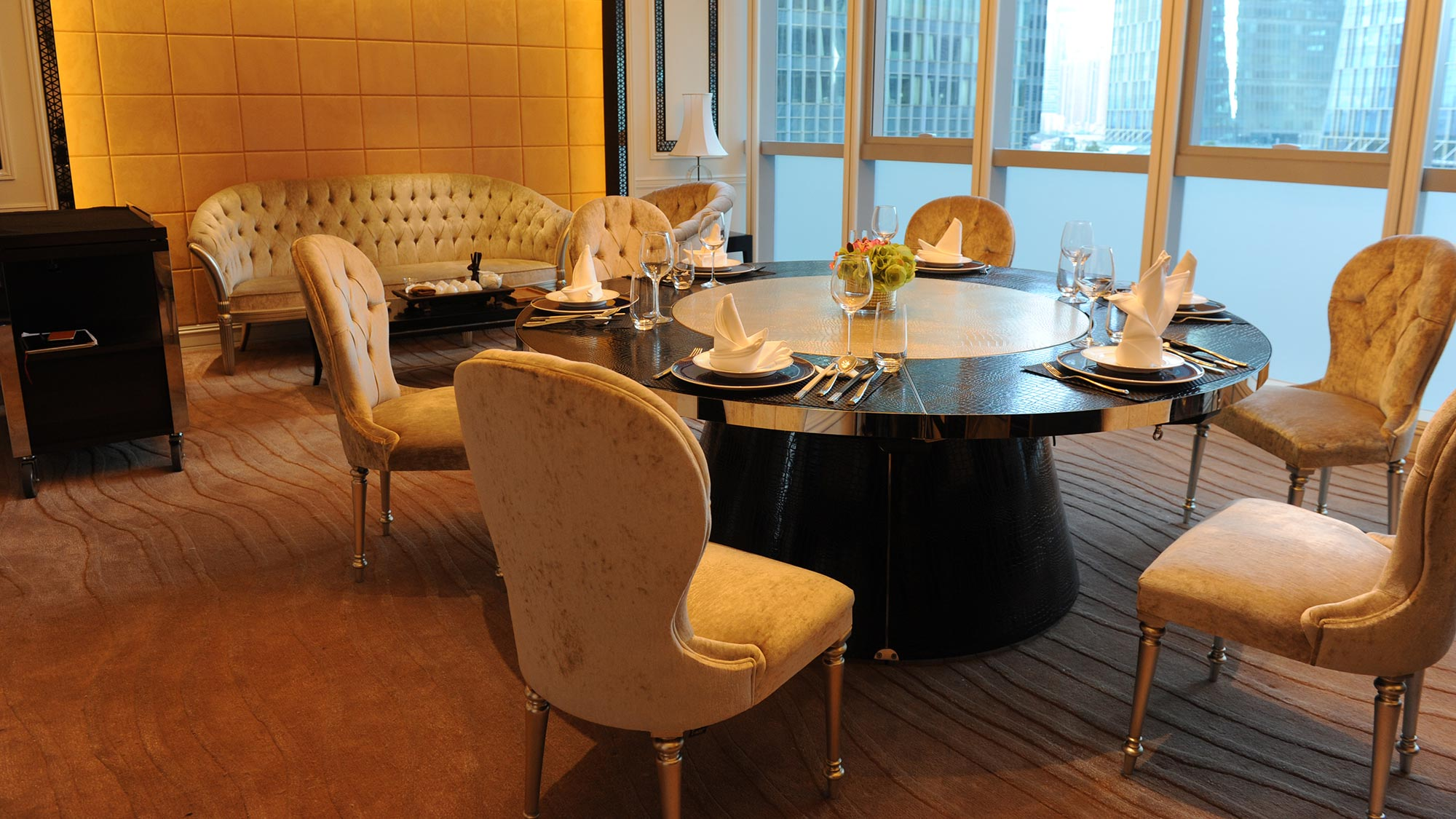 Contemporary Aida chairs by Sevensedie at the Imperial Seal restaurant in Shanghai. On the back wall a beautiful Augusto 3 seater sofa with deep buttoned back.