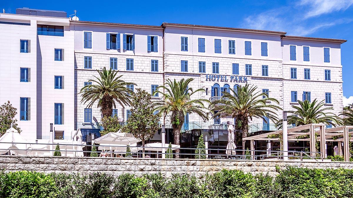White façade of the Hotel Park in Split, Croatia